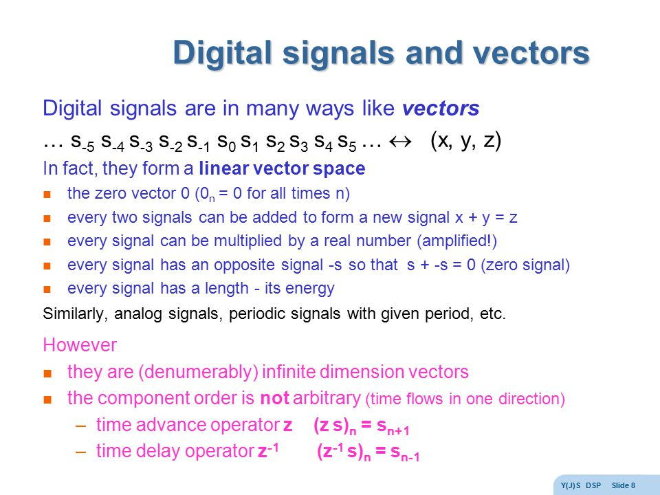 Digital signals and vectors