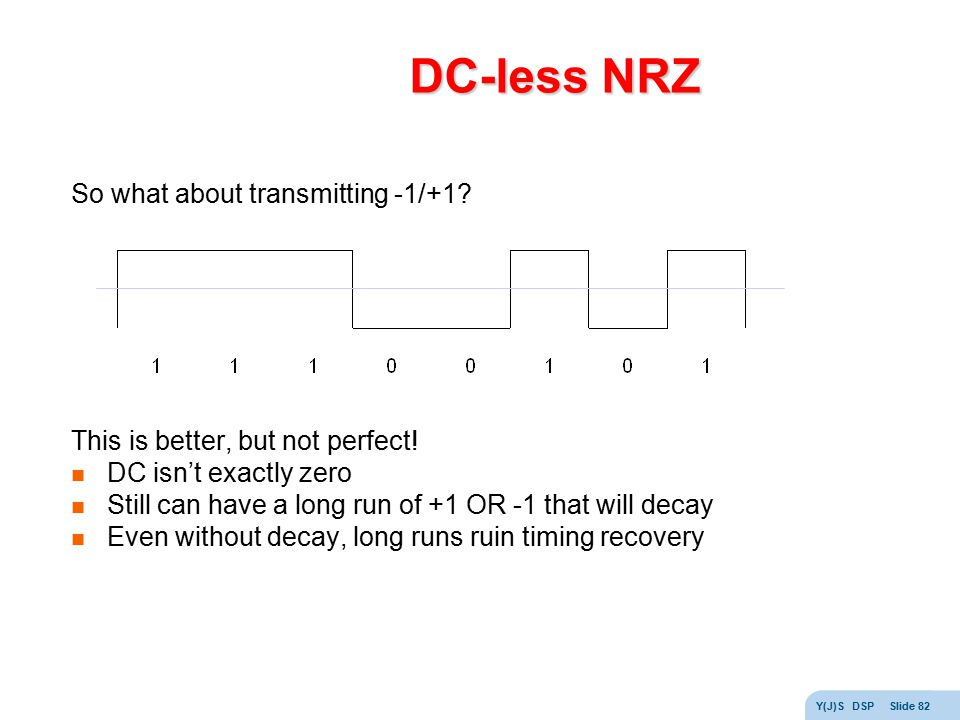 DC-less NRZ So what about transmitting -1/+1