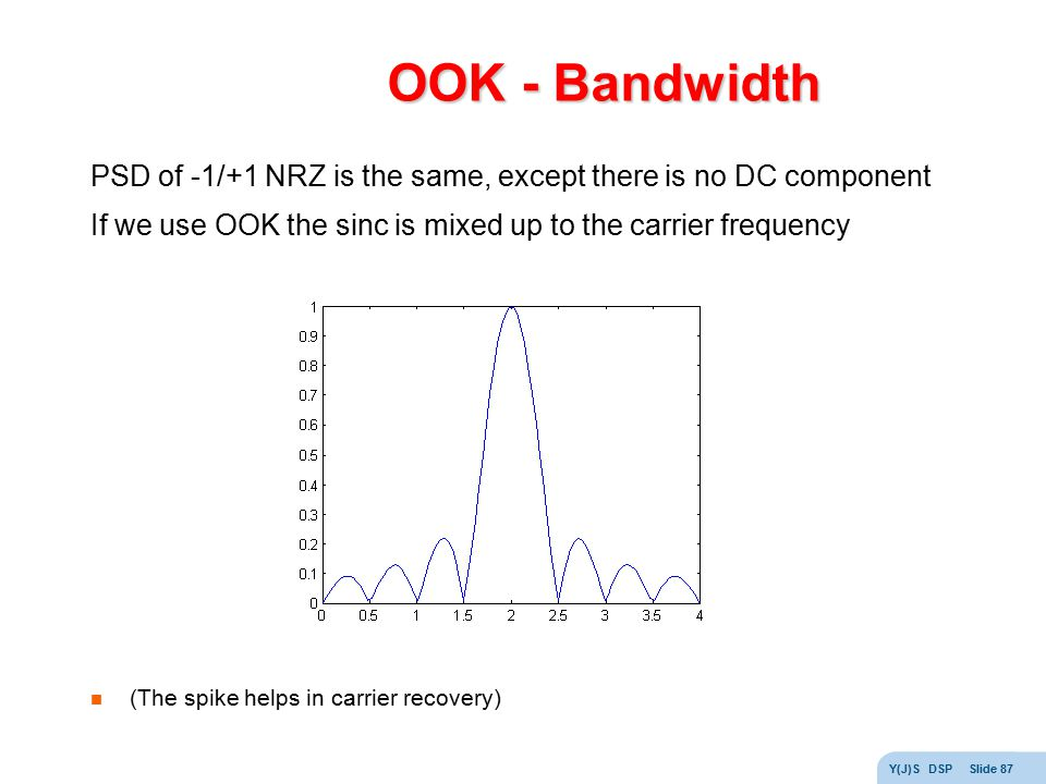 OOK - Bandwidth PSD of -1/+1 NRZ is the same, except there is no DC component. If we use OOK the sinc is mixed up to the carrier frequency.