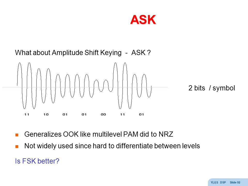 ASK What about Amplitude Shift Keying - ASK 2 bits / symbol