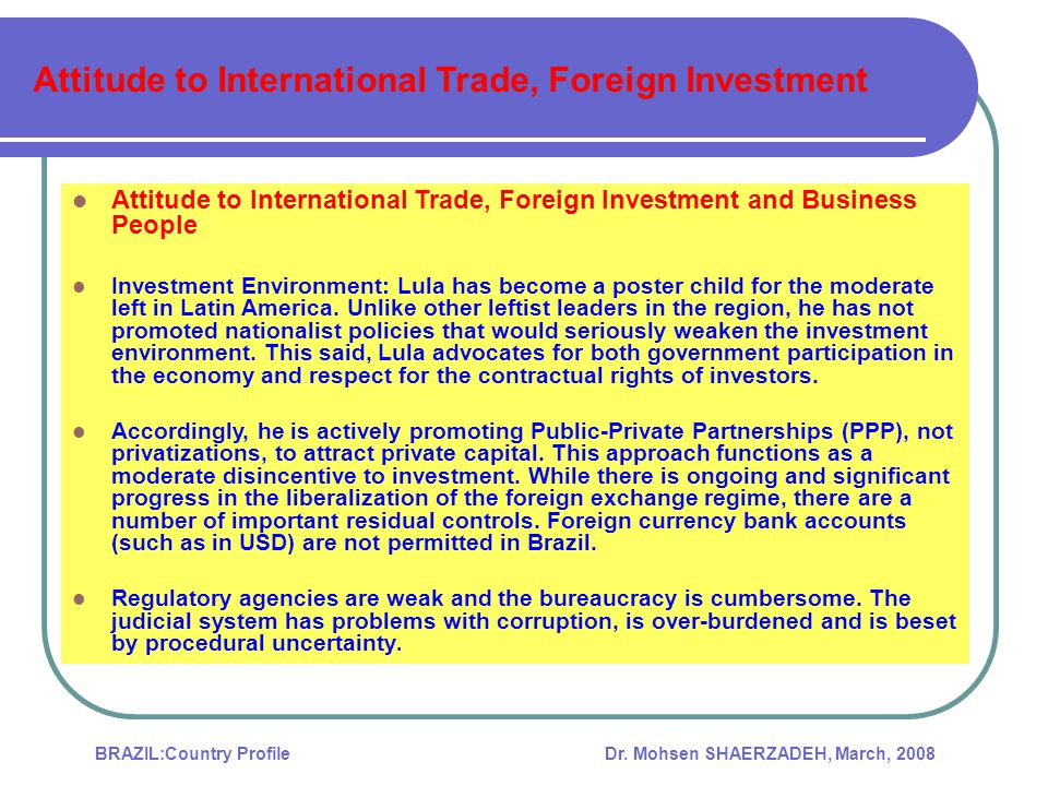 Attitude to International Trade, Foreign Investment