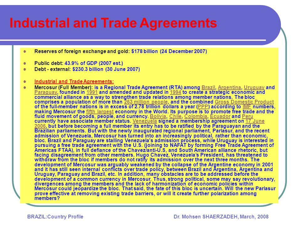 Industrial and Trade Agreements