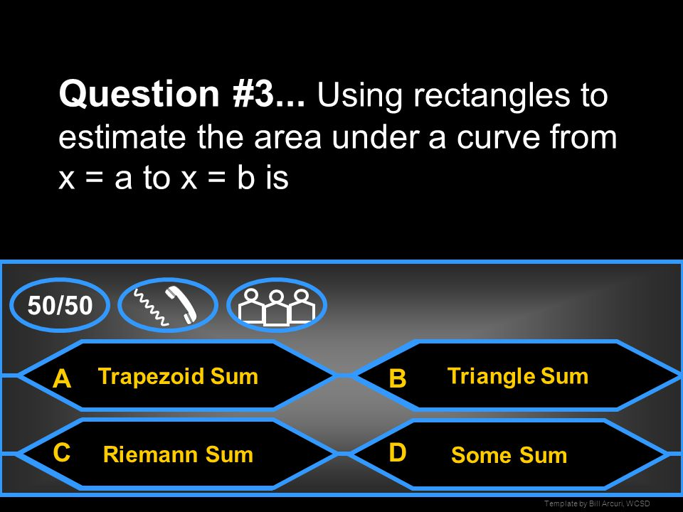 Question #3... Using rectangles to estimate the area under a curve from x = a to x = b is