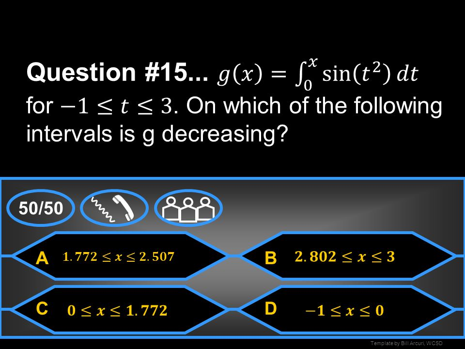 Question #15. 𝑔 𝑥 = 0 𝑥 sin 𝑡 2 𝑑𝑡 for −1≤𝑡≤3