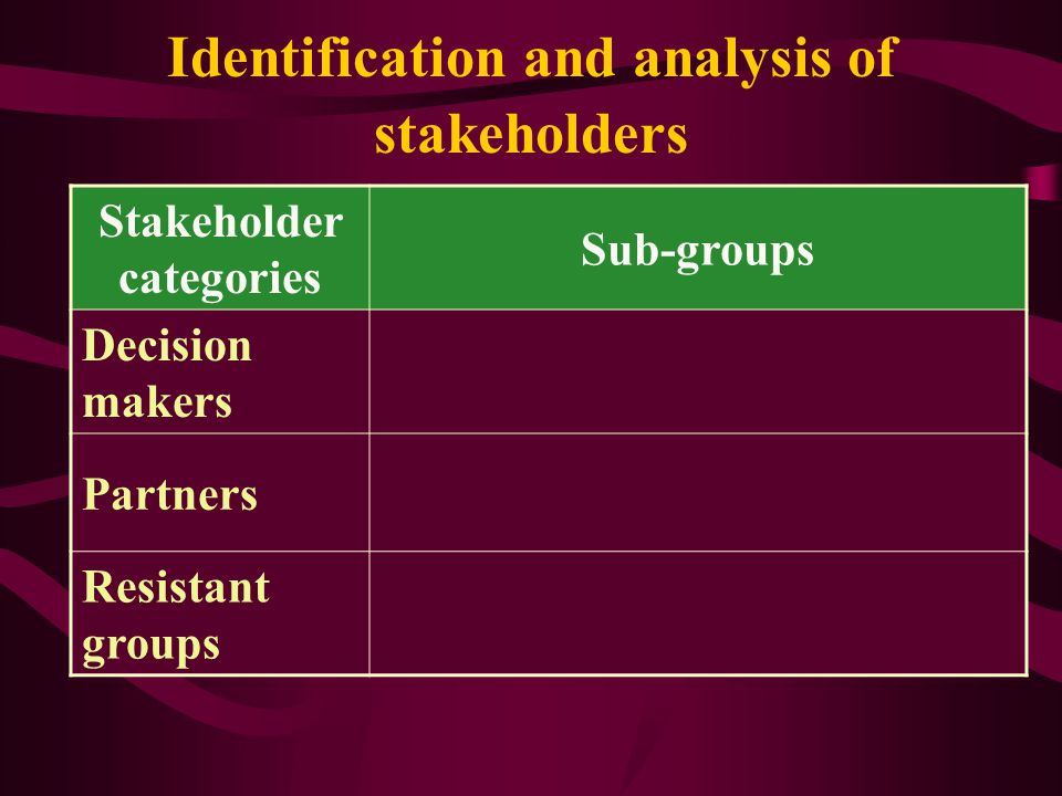 Identification and analysis of stakeholders
