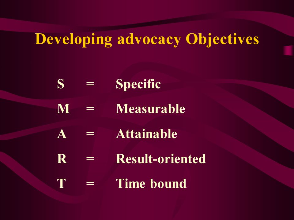 Developing advocacy Objectives