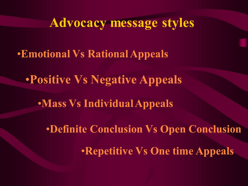 Advocacy message styles