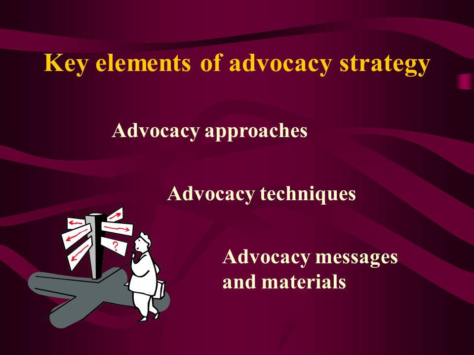 Key elements of advocacy strategy