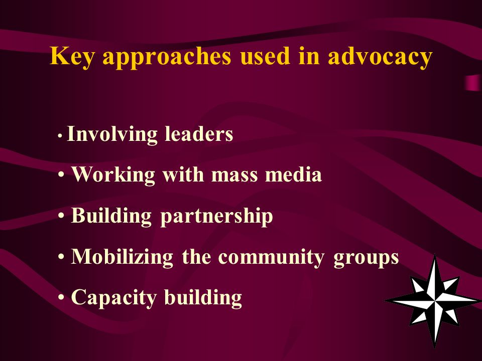 Key approaches used in advocacy