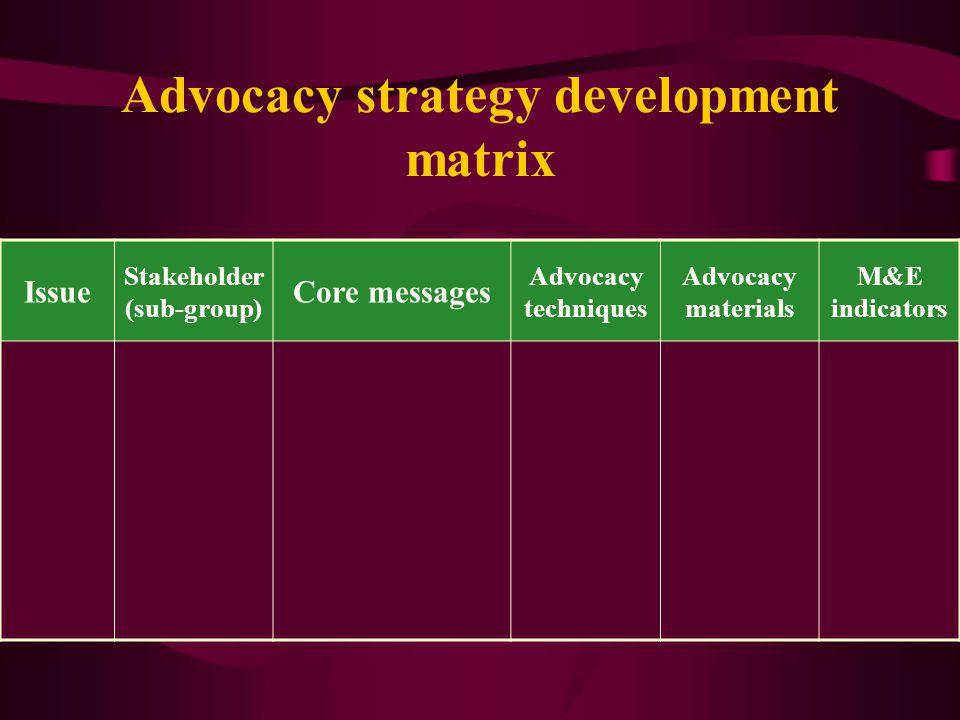 Advocacy strategy development matrix