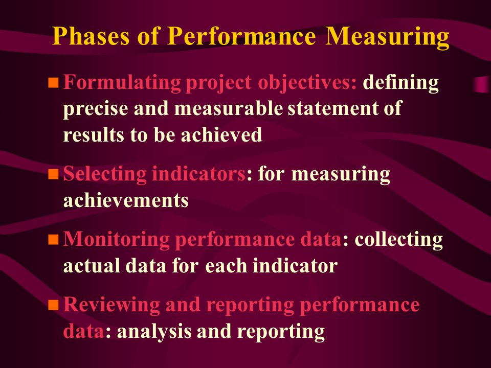 Phases of Performance Measuring