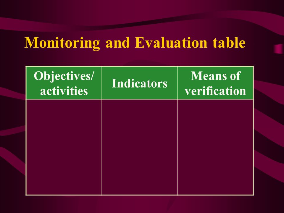 Monitoring and Evaluation table Objectives/ activities