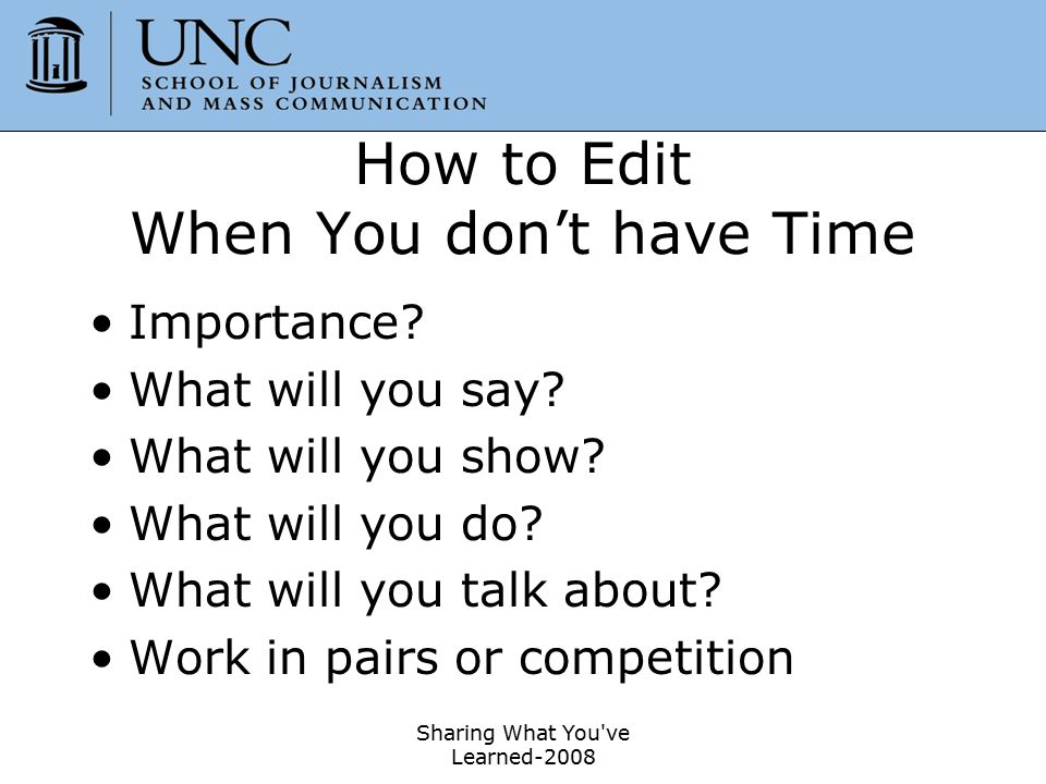 How to Edit When You don't have Time