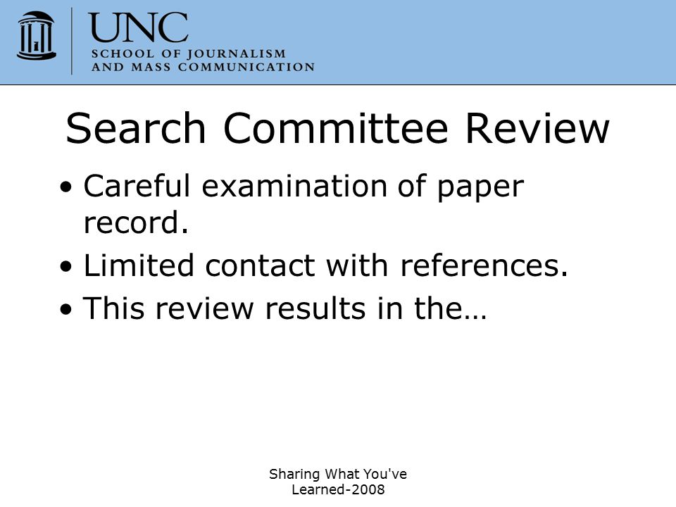 Search Committee Review