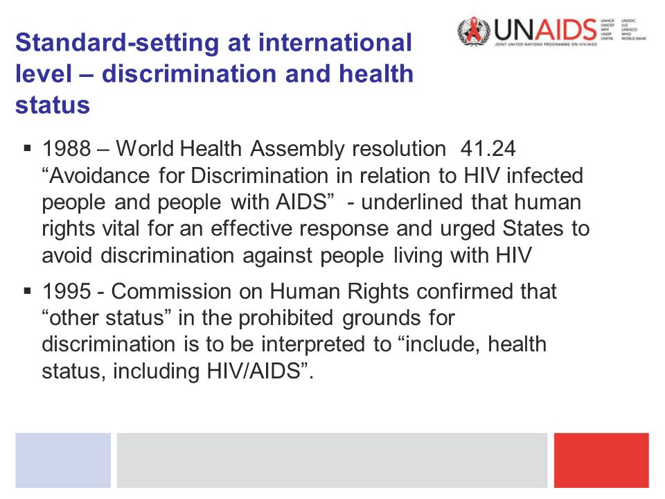 Standard-setting at international level – discrimination and health status
