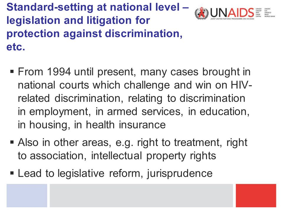 Standard-setting at national level – legislation and litigation for protection against discrimination, etc.