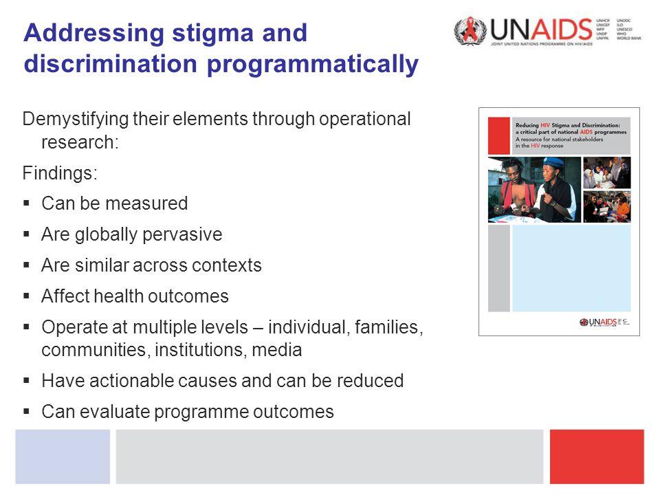 Addressing stigma and discrimination programmatically
