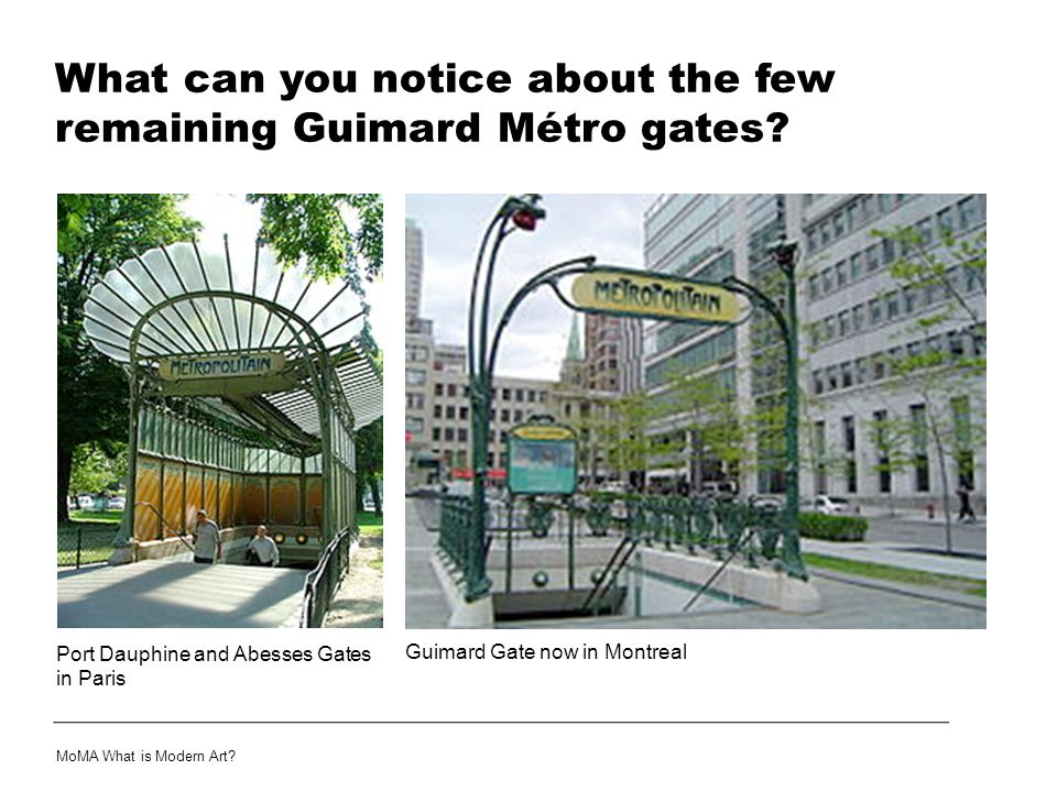 What can you notice about the few remaining Guimard Métro gates