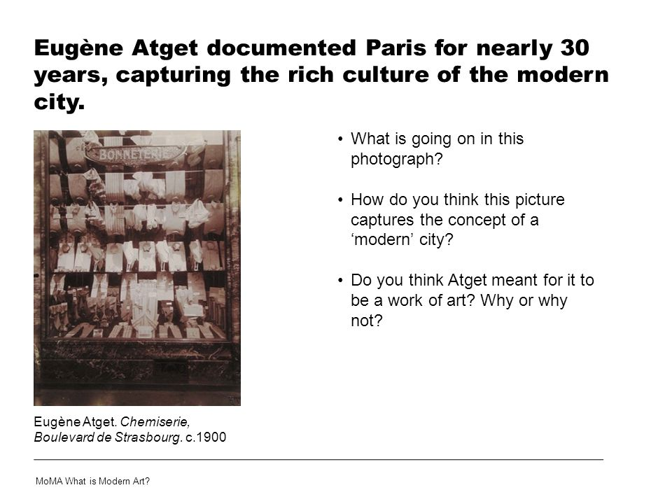 Eugène Atget documented Paris for nearly 30 years, capturing the rich culture of the modern city.