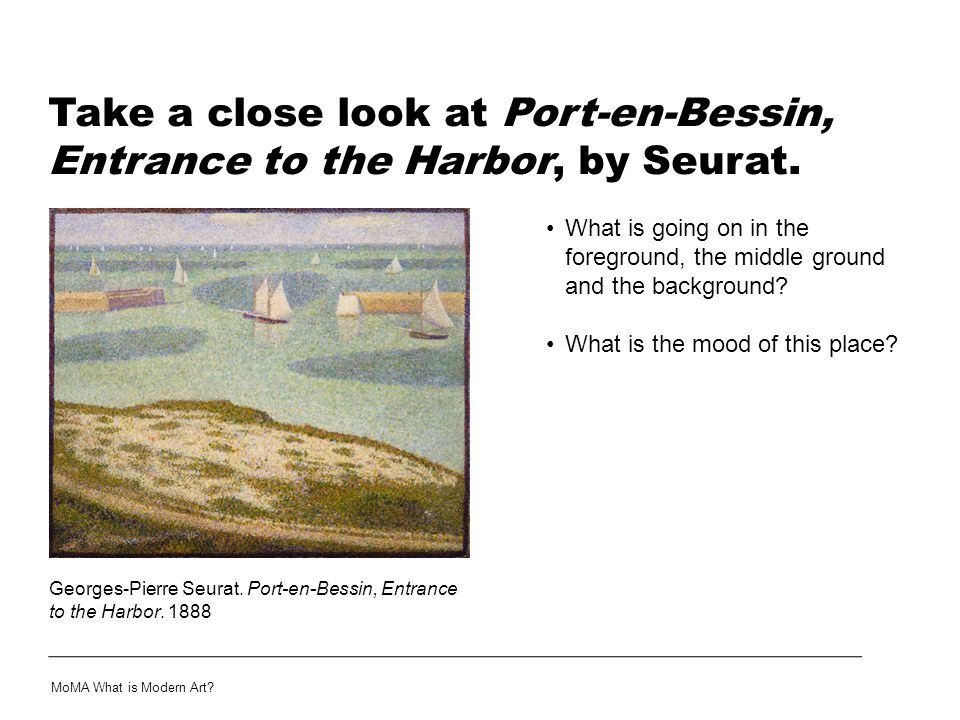 Take a close look at Port-en-Bessin, Entrance to the Harbor, by Seurat.