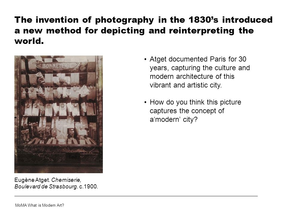 The invention of photography in the 1830's introduced a new method for depicting and reinterpreting the world.