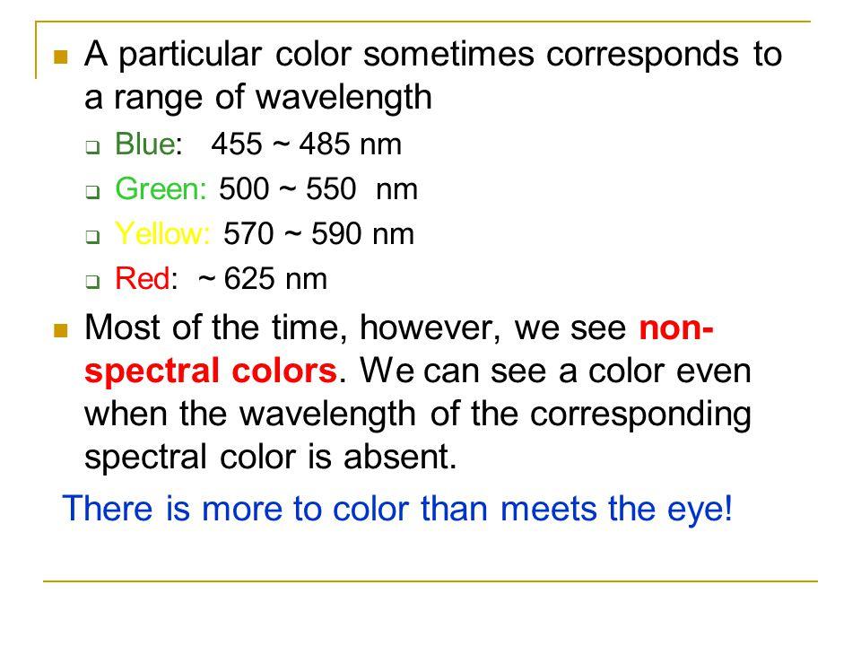 A particular color sometimes corresponds to a range of wavelength