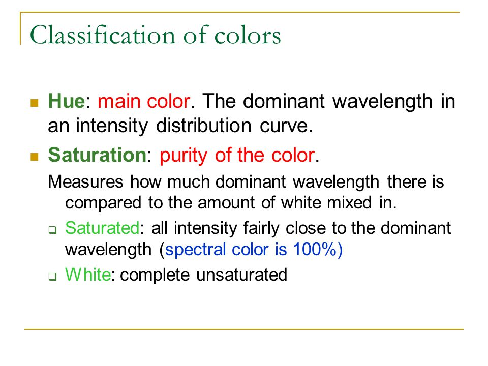 Classification of colors