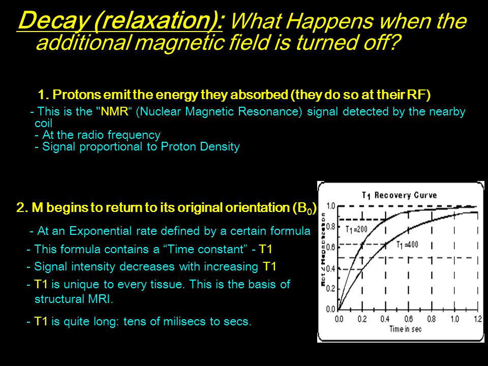 Decay (relaxation): What Happens when the additional magnetic field is turned off