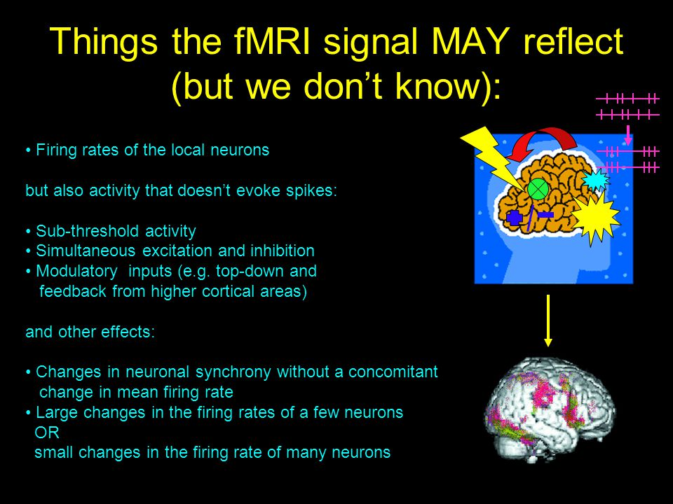 Things the fMRI signal MAY reflect (but we don't know):