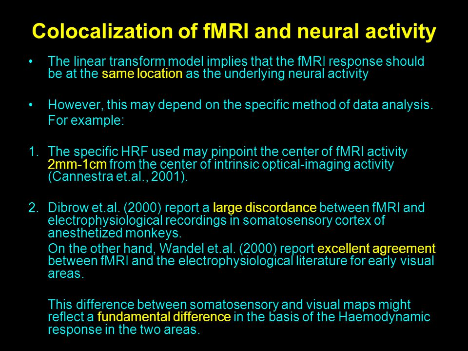 Colocalization of fMRI and neural activity