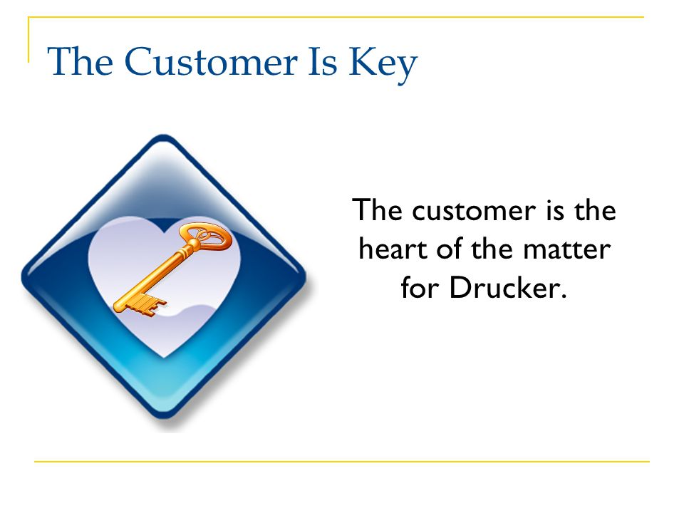 The customer is the heart of the matter for Drucker.