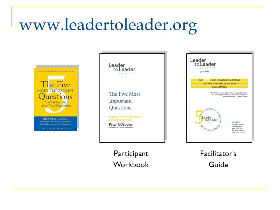 www.leadertoleader.org Participant Workbook Facilitator's Guide 2