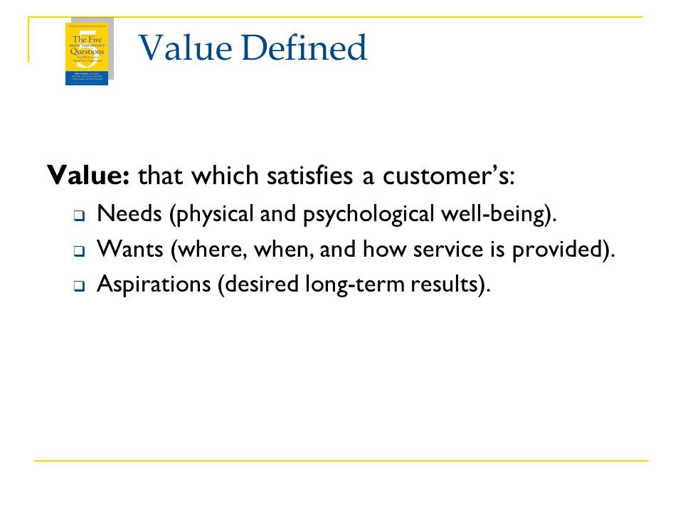 Value Defined Value: that which satisfies a customer's: