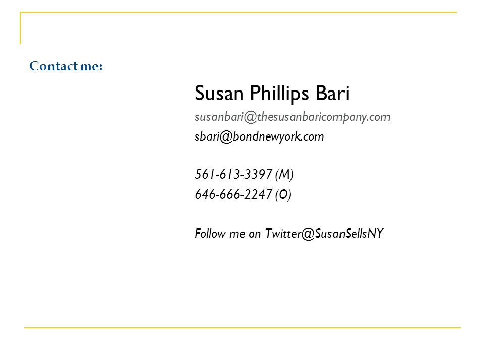 Susan Phillips Bari Contact me: