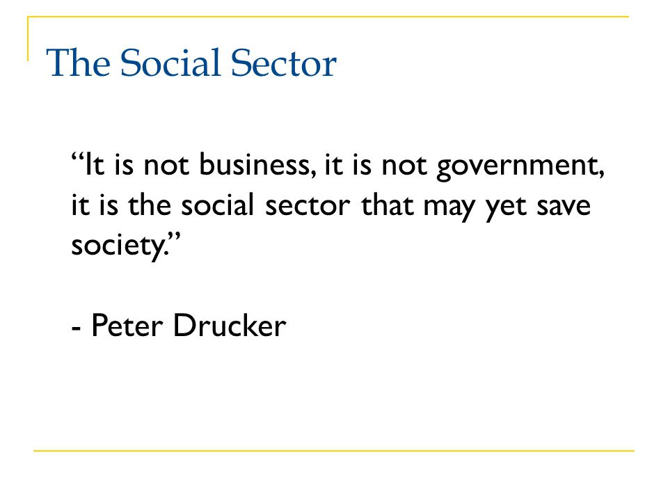 The Social Sector It is not business, it is not government, it is the social sector that may yet save society.