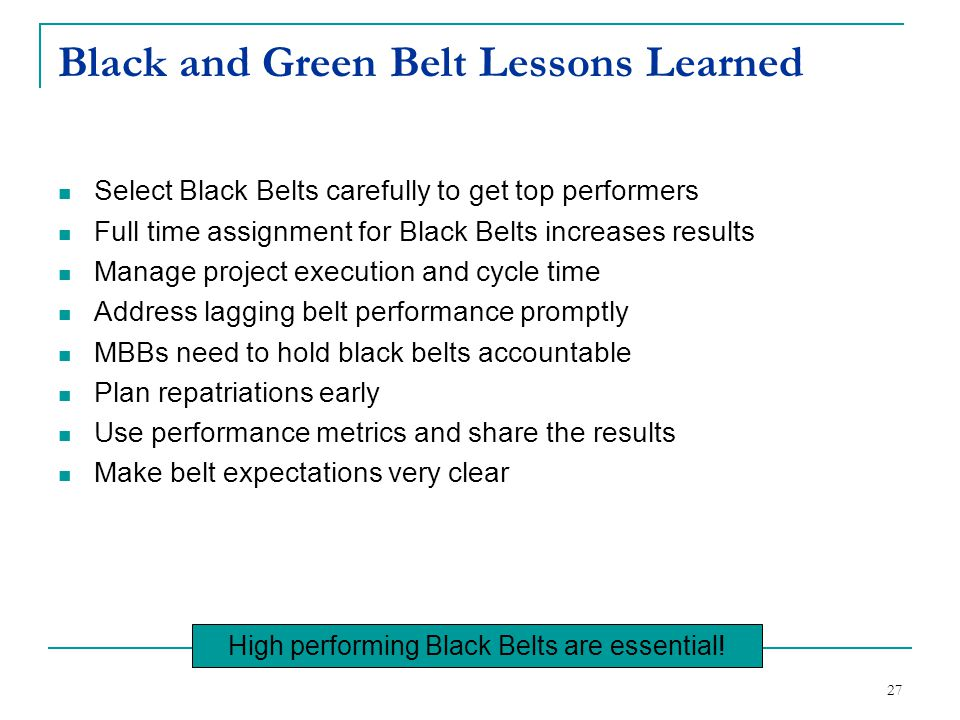 Black and Green Belt Lessons Learned
