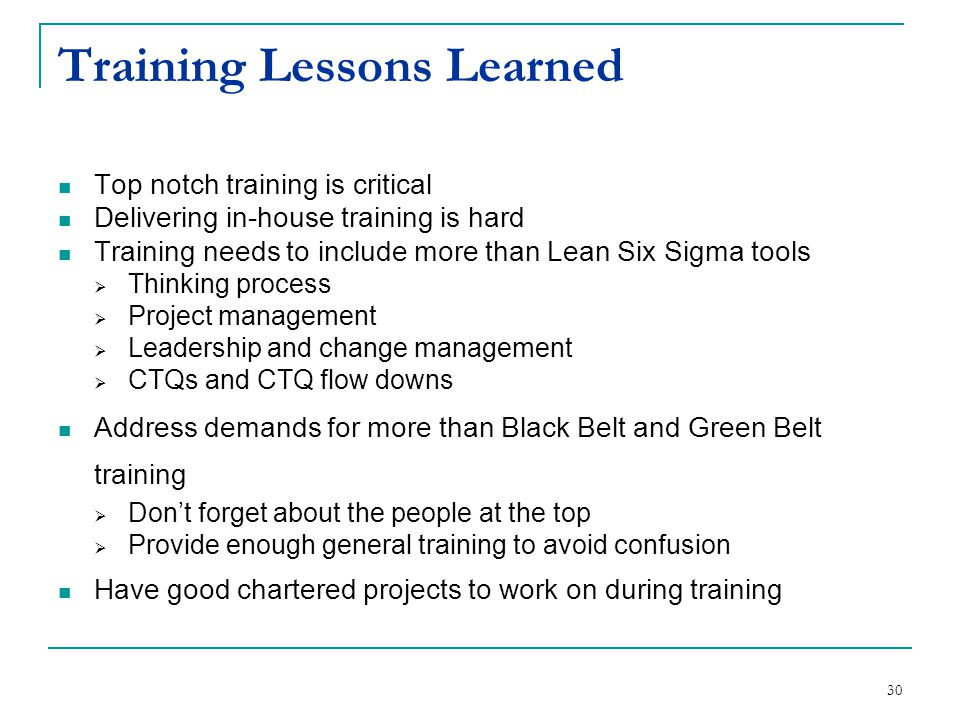 Training Lessons Learned