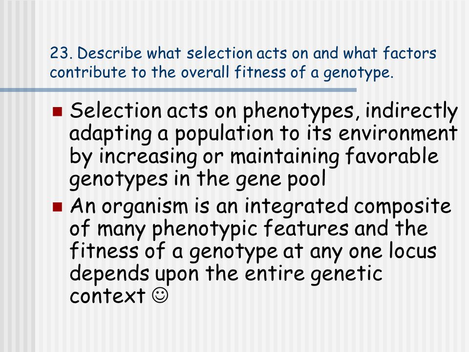 23. Describe what selection acts on and what factors contribute to the overall fitness of a genotype.