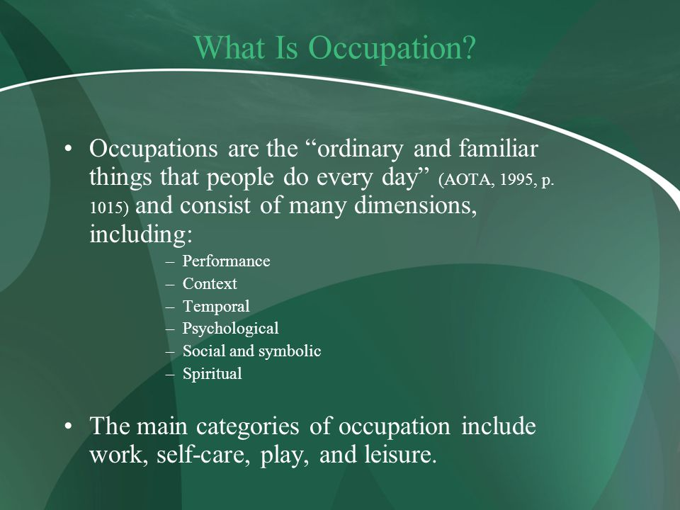What Is Occupation