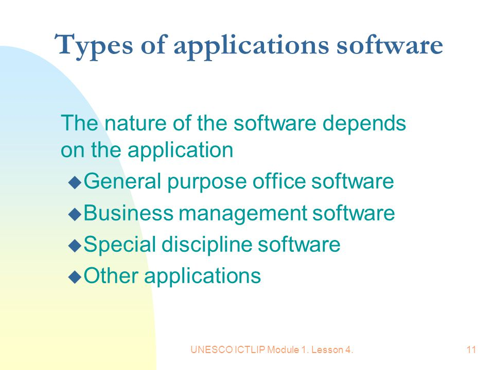 Types of applications software
