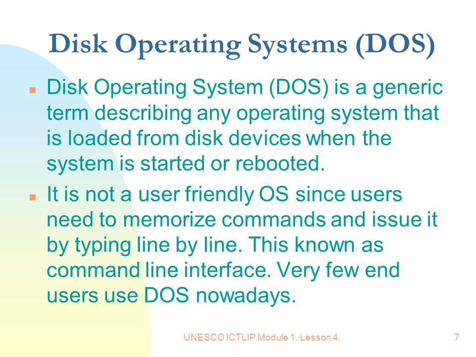 Disk Operating Systems (DOS)