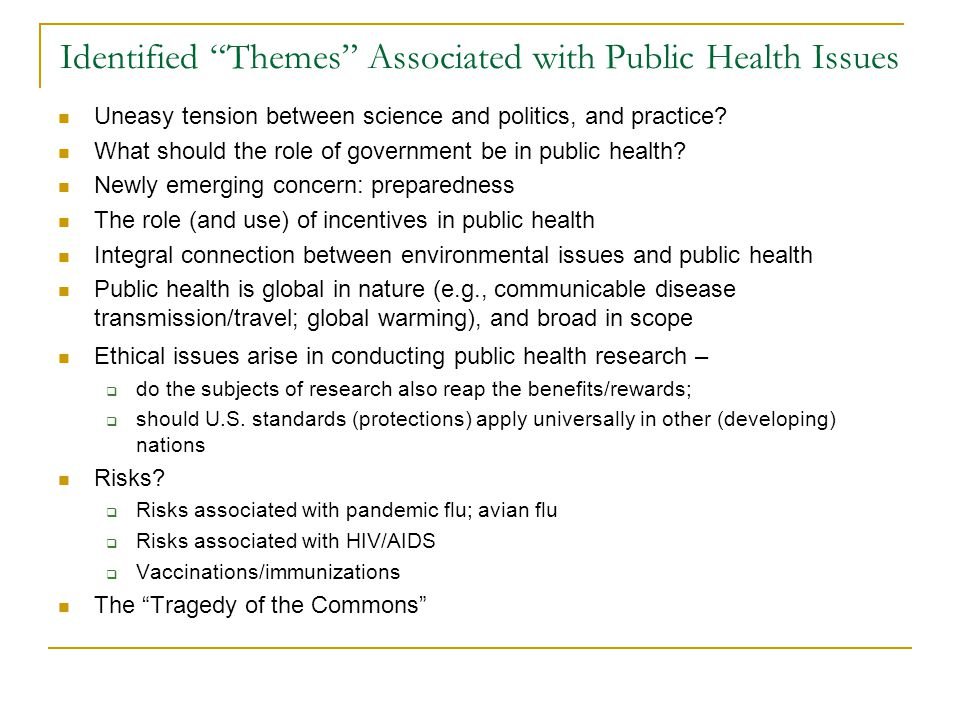 Identified Themes Associated with Public Health Issues