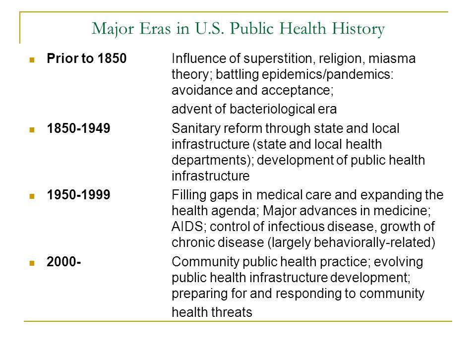 Major Eras in U.S. Public Health History