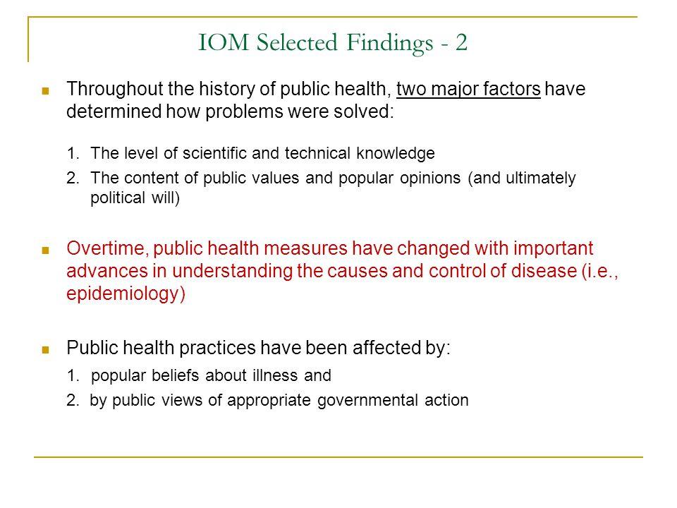 IOM Selected Findings - 2