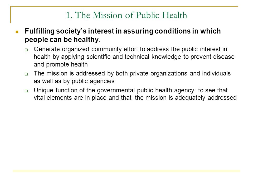 1. The Mission of Public Health