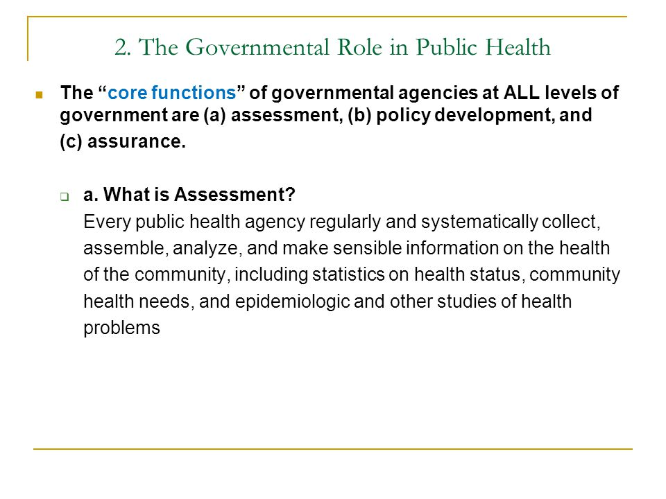 2. The Governmental Role in Public Health