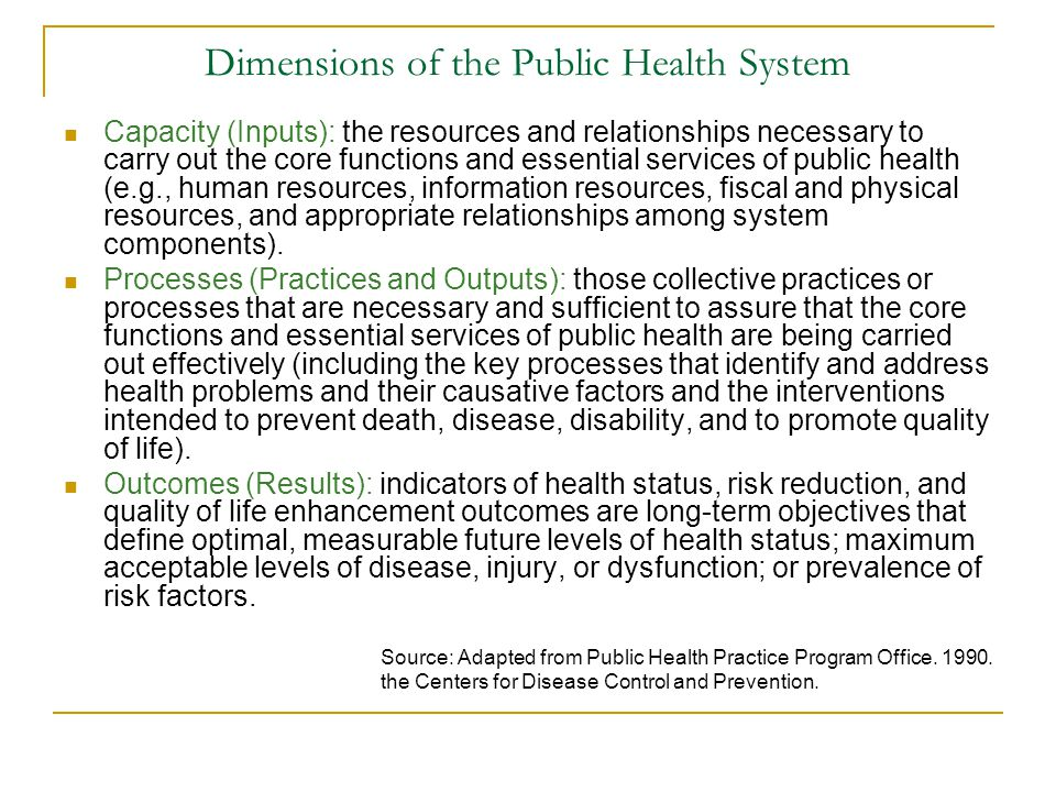 Dimensions of the Public Health System