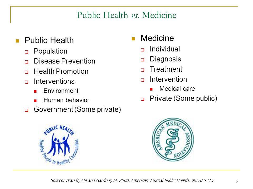 Public Health vs. Medicine
