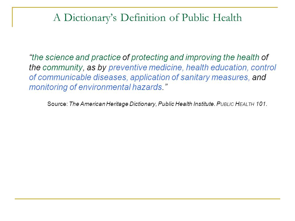 A Dictionary's Definition of Public Health