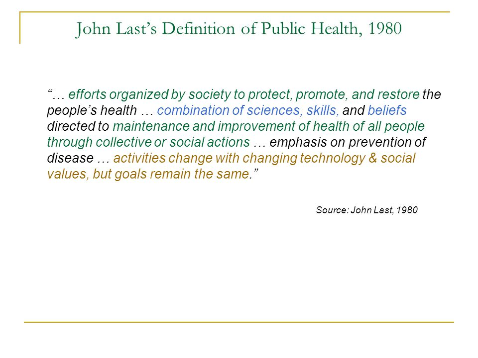 John Last's Definition of Public Health, 1980